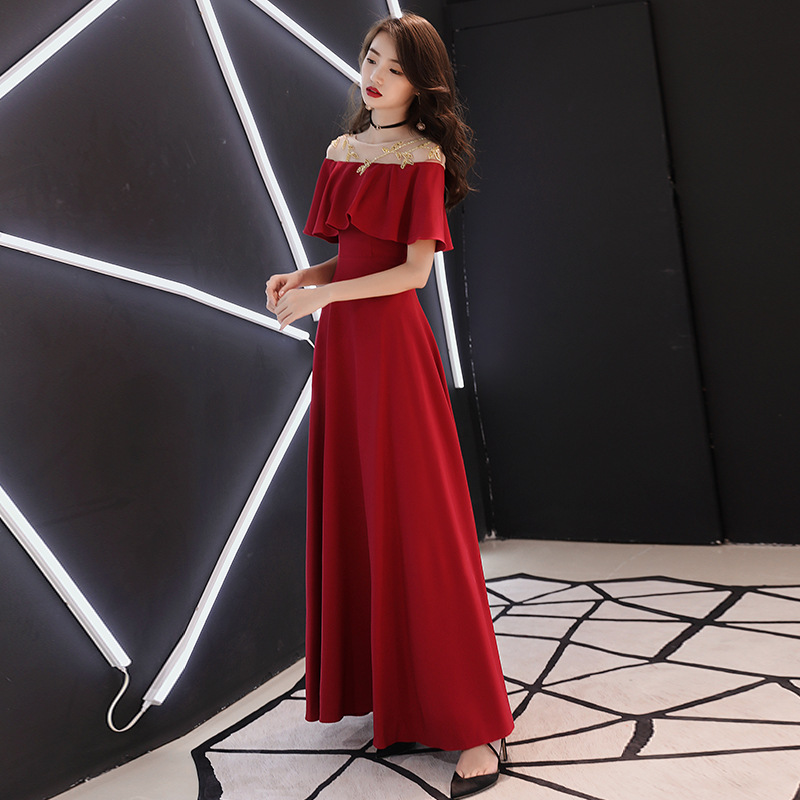 Sexy épaule dénudée femmes robe 2019 Sexy maille femmes longue princesse porter Xxl élégant longue soirée robe de soirée vin rouge solide
