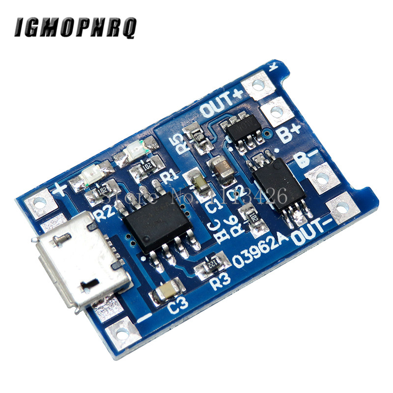 5pcs Micro <font><b>USB</b></font> <font><b>5V</b></font> 1A 18650 TP4056 Lithium Battery Charger Module Charging Board With Protection Dual Functions 1A Li-ion image