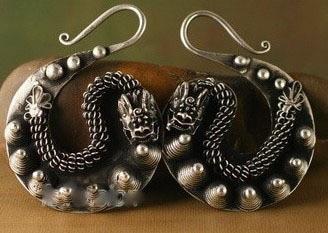 Ethnic jewelry TRIBAL MIAO EARRINGS HAND Free shipping ethnic style tribal print elastic waist skirt for women