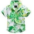 2016 novo chegada de algodão 100% camisa floral camisa havaiana aloha shirt para o menino T1534