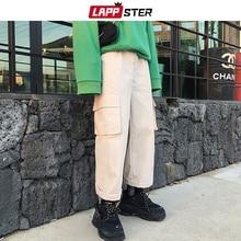 LAPPSTER Harajuku Cargo Pants Men 2019 Mens Streetwear Wide