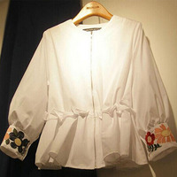 Korean Style Embroidery Shirts For Women 2017 Summer New Loose Zipper Blouses Female Casual Long Sleeve