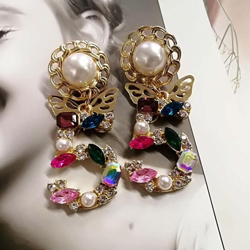 Mimiyagu style big statement drop dangle crystal Earrings for woemen 5 Digital baroque pearl butterfly drop cc earrings
