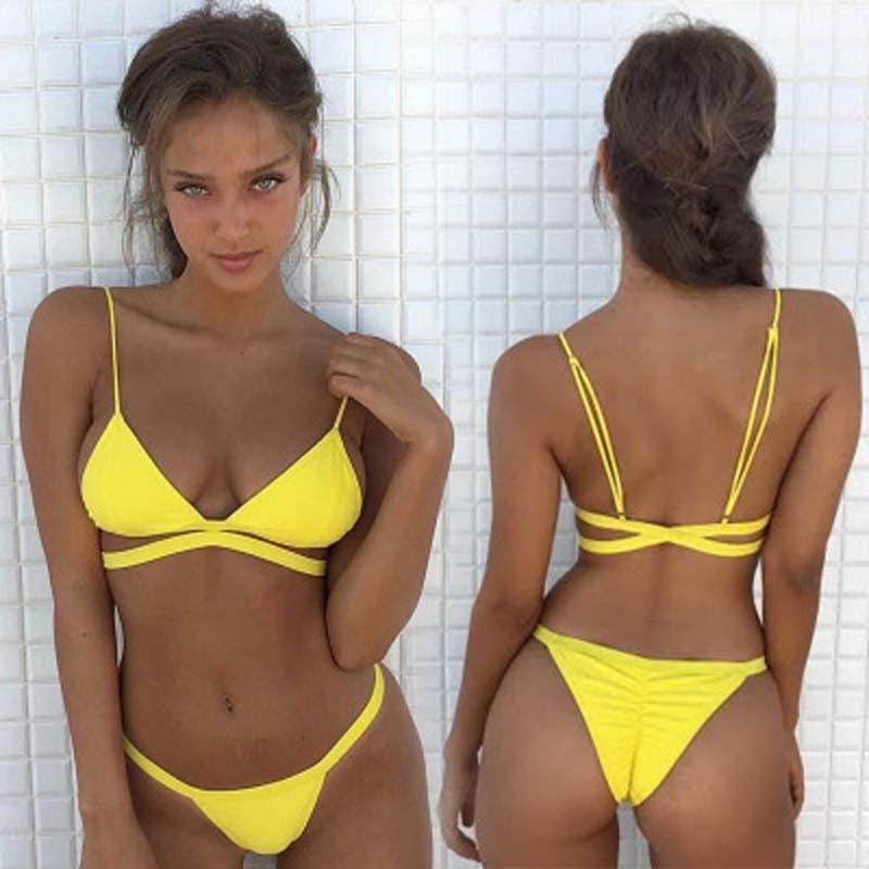 2019 Brand Yellow Women Sexy Brazilian Thong Bikini Swim Set Swimwear Low Waist Swimsuit Beach Bikini Swim Bathing Suit