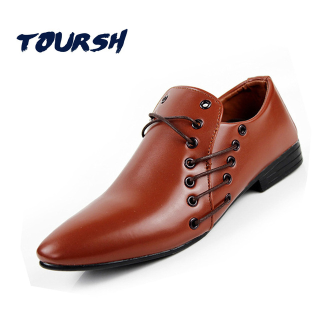 Toursh Patent Leather Black Casual Men Shoes Flats Point Toe Comfortable Office Dress