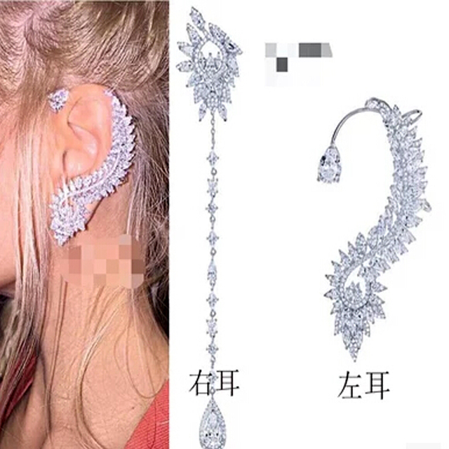 Accessories single retro zircon monaco snowflake fance asymmetry earring earrings for women