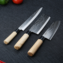 3pcs kitchen knife stainless steel damascus chef Sashimi knives cleaver chopping meat slice vegetables kitchen cooking tool