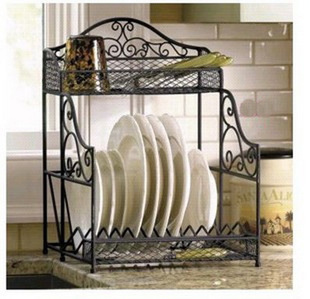 European Kitchen Dish Rack Wrought Iron Shelf Brackets Shelving Storage