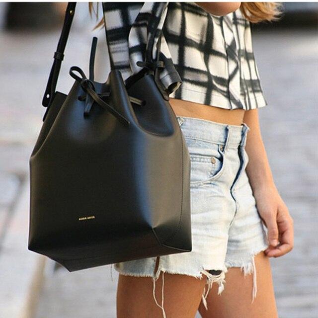 7b51005735 Celebrity Black Large Capacity Bucket Bag Drawstring Women Leather Luxury  Handbag 2018 New Shopper Female Shoulder