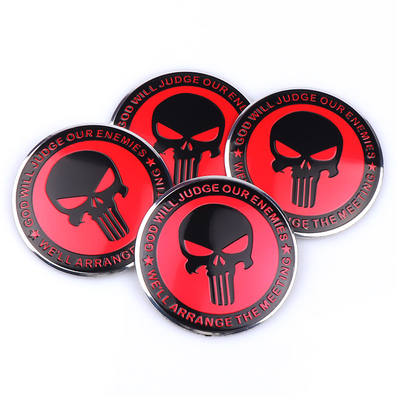Image 3 - 4pcs 56mm Punisher Skull Logo Aluminum alloy Car wheel center hub caps Aluminum Emblem Badge Sticker Car styling Accessory-in Car Stickers from Automobiles & Motorcycles