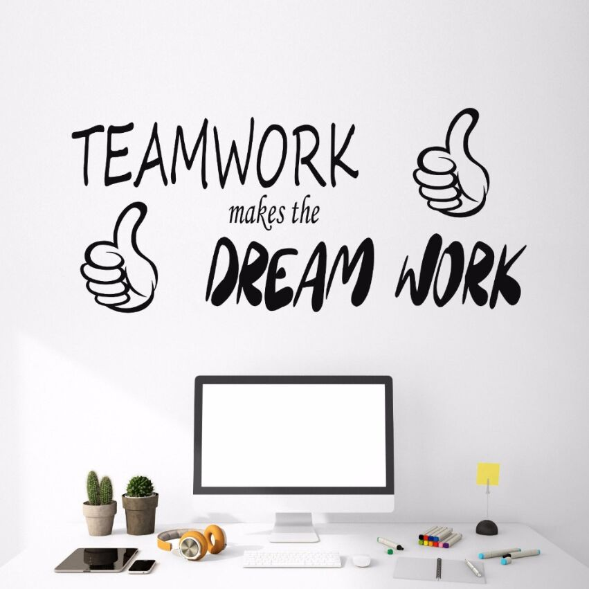vinyl wall decal motivation quote words wall stickers teamwork makes