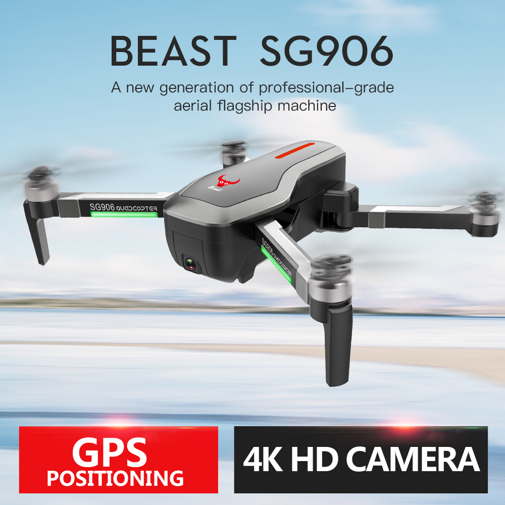 Besta SG906 GPS 5G WIFI FPV Com Selfie Dobrável X193 4 K Ultra clear Camera Brushless RC Zangão Quadcopter RTF Preto VS F11 B4W
