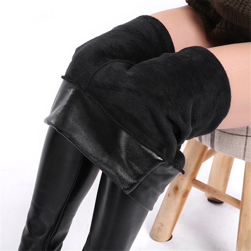 CHRLEISURE 5XL Plus Size Velvet Leather Legging Warm Winter Women Faux Leather Leggin Long High Waist  Slim Legging Women