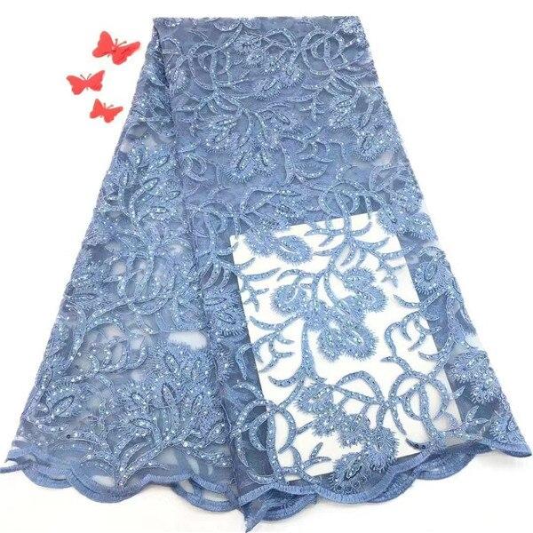 الأزرق الأفريقي أقمشة الدانتيل 5 ساحة الفرنسية صافي الدانتيل النسيج 2019 عالية الجودة الدانتيل الأفريقي النسيج لفستان الزفاف مع الترتر-في دانتيل من المنزل والحديقة على  مجموعة 1