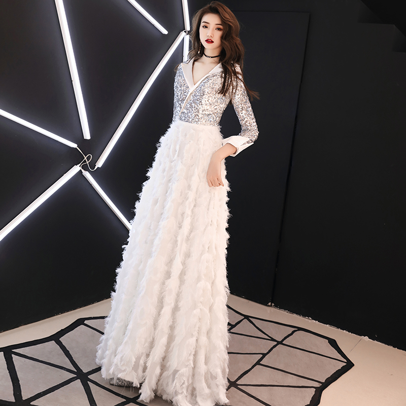 Image 2 - weiyin 2019 New V Neck Evening Dress The Banquet Elegant White 3/4 Sleeves Sequins Long Party Formal Gown WY1554 Robe De Soiree-in Evening Dresses from Weddings & Events