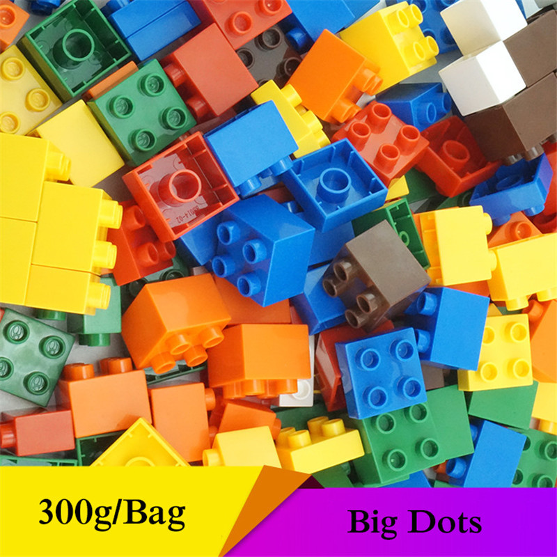 300g/Bag Basics Bricks Mixed Dots Set Assemble Big Particles Building Blocks Supplement DIY accessory Gifts Toys Fit for duploes 300g pack lldpe plastic particles linear low density polyethylene raw material