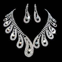 Silver Plated Elegant Zircon Jewelry Fashion Women Bridal Wedding Set Party Prom Rhinestone Necklace Earrings