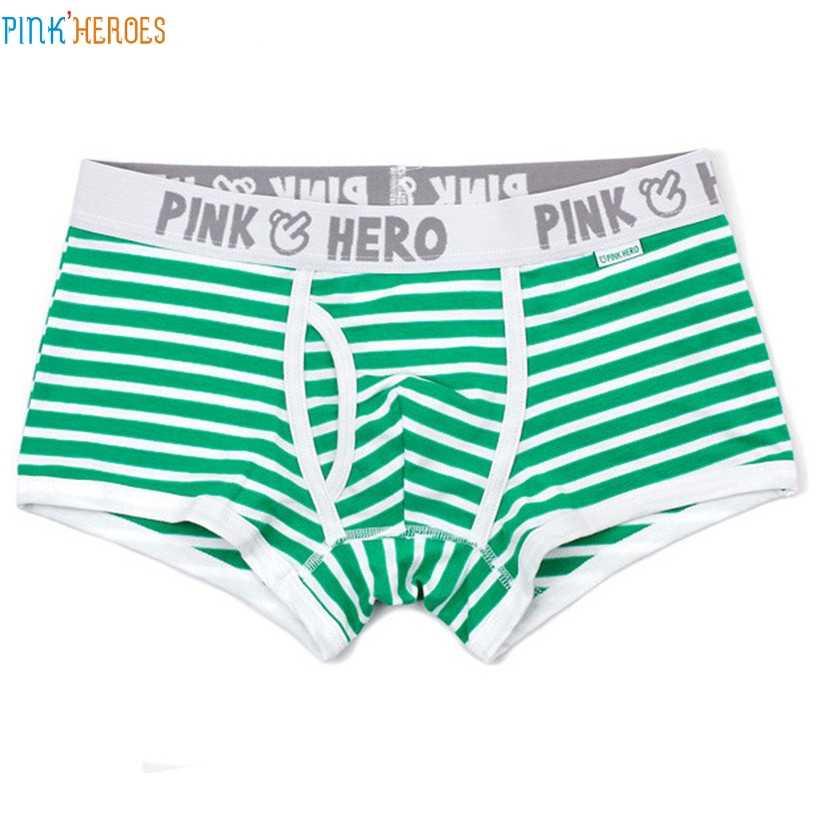 Pink Heroes 5 шт удобные трусики Для мужчин пикантные в полоску хлопковое нижнее белье боксеры кайма труы Прямая доставка act30