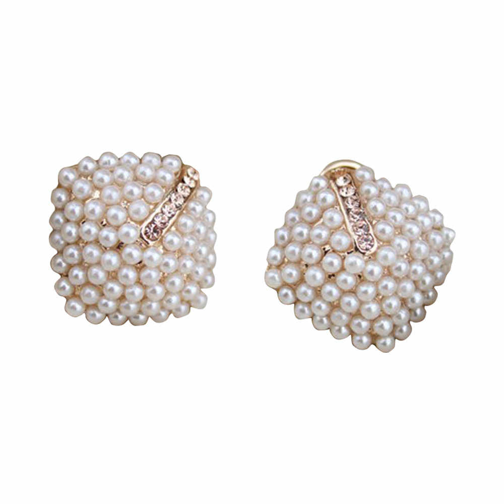 Fashion OL Style Women Stud Earrings Pearl Rhombus Crystal Rhinestone 11.5