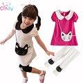 Novas Roupas de Crianças Meninas 2 pcs Gatinho Algodão Padrão Lapela T-shirt + Calças Curtas Outfits Frete Grátis & Drop grátis