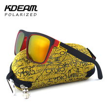 Highly Recommended KDEAM Mirror Polarized Sunglasses Men Square Sport Sun Glasses Women UV gafas de sol With Peanut Case KD156
