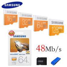 Samsung оригинальной карты памяти 128 ГБ 64 ГБ 32 ГБ 16 ГБ 48 м/с C10 EVO MicroSD карты Class10 TF карта флэш-карты памяти SDHC SDXC U1