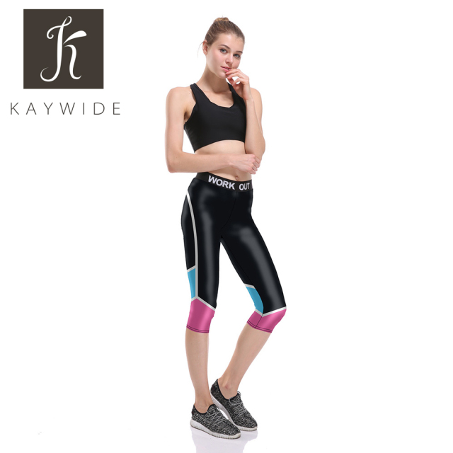 55ccc45f0a4c9b Kaywide New Skinny Cropped Workout Leggings Women Fitness Running Sports  Yoga Pants Gym Summer Seventh Athletic Tights Capris