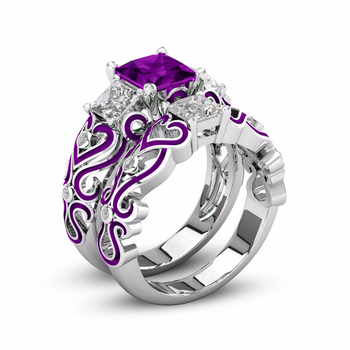 Purple Gemstone Dripping Glue Ring Set 1