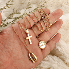 Cross Shell Custom Necklace For Women 3Pcs/set New Fashion Glod Alloy Jewelry Gift Accessories Friendship Choker Pendientes