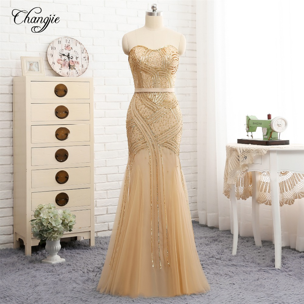 Luxury New Golden   Prom     Dresses   2018 Sweetheart Zipper Back Floor Length Beading Tulle Long Evening   Dress   Party Gowns Vestidos