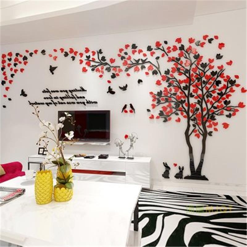 Us 14 7 40 Off Creative Couple Tree 3d Wall Stickers Living Room Bedroom Home Wall Art Decor Diy Acrylic Wall Sticker Decal Cartoon Big Tree In Wall