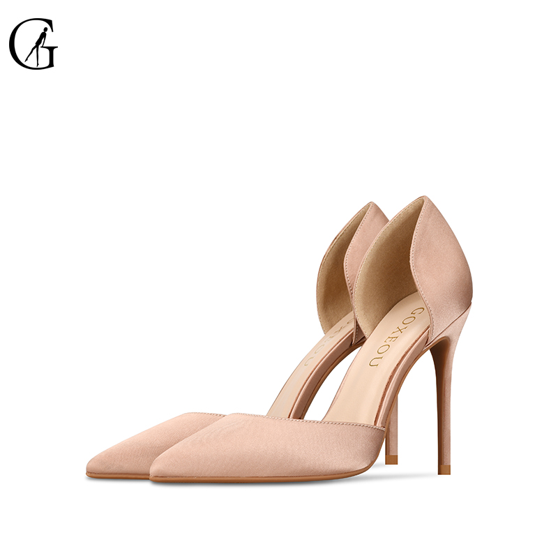 GOXEOU 2019 Women Nude Pumps Thin Heel High Heels Sexy Pointed Toe Slip-On Wedding Office Handmade Free Shipping Size32-46