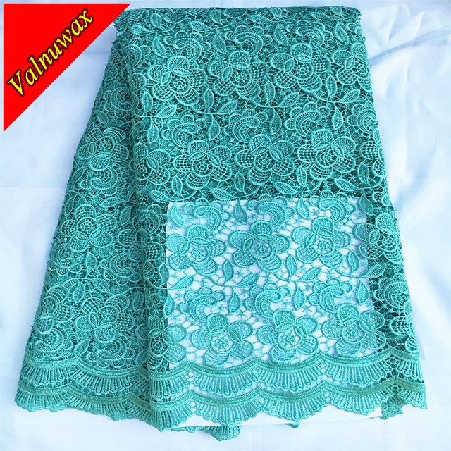 African Lace Fabric High quality for nigerian wedding african lace fabric / Green color guipure cord lace fabric YJ
