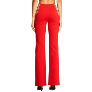 Image 2 - Sexy Cut Out Holes Womens Pants Slim Fit Sweat Skinny Solid Pants For Women Flare Hollow Out Thin Low Waist Wine Red Pants Hot