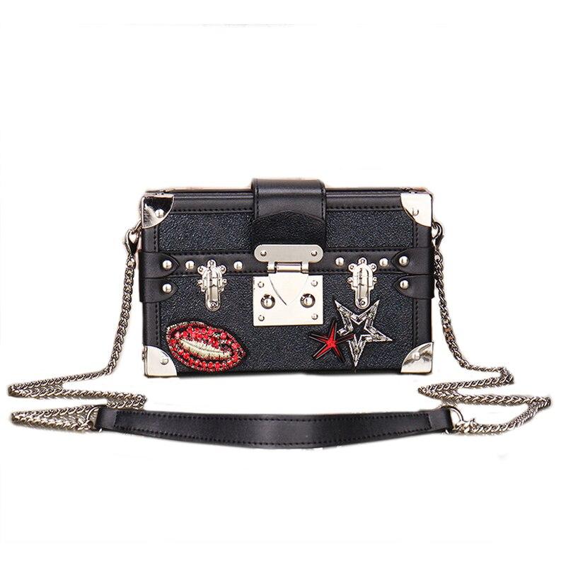 Luxury High Quality Leather Women Box Handbag Purse Star Lipstick Design Mini Flap Shoulder CrossBody Bags Mini Evening Clutches star wars purse high quality leather