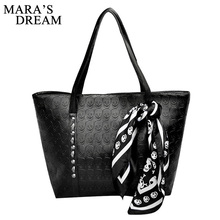 Mara's Dream 2017 Women's Handbag Cool Skull Shoulder Bags With Scarf Large Capacity Hand Bags For Women PU Leather Rivet Bags(China)