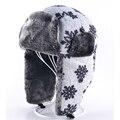 Espesada Warm Trapper Sombrero de invierno Mujer sombrero de aviador bombardero Ruso sombrero orejeras de piel Falsa Casual tapas de bombarderos para los hombres hueso