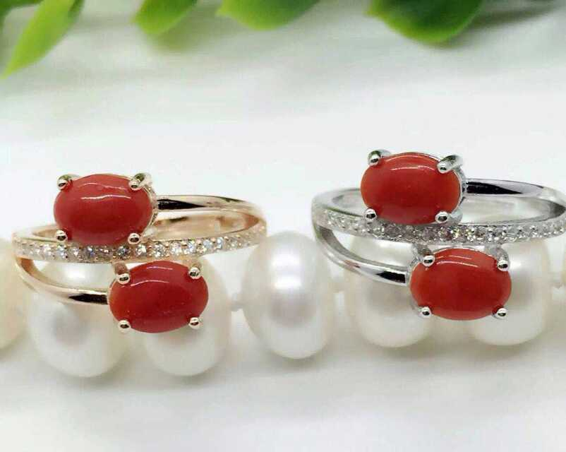 Natural red coral gem Ring Natural gemstone ring 925 sterling silver trendy Romantic double for women's girl gift fine Jewelry