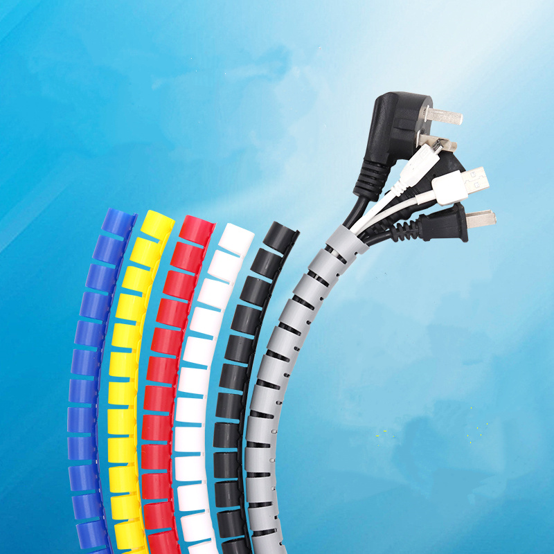 Beautiful PE plastic spiral cable wrap Prevent entanglement wrapping shrink cord  cable braided sleeve protectionBeautiful PE plastic spiral cable wrap Prevent entanglement wrapping shrink cord  cable braided sleeve protection