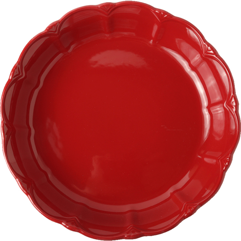 Solid Red Dinner Plates Food Dishes Ceramic Pizza Bowl Soup Plate Wedding Gift