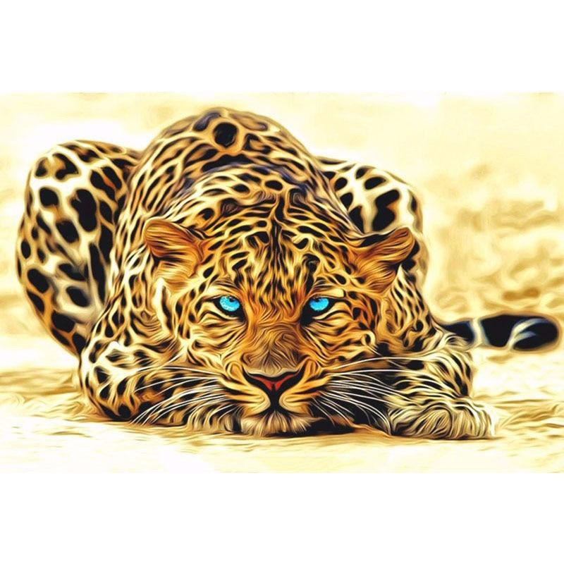 Frameless animali leopardo diy pittura by numbers acrilico immagine dipinta a mano pittura a olio su tela per la decorazione domestica opere d'arte