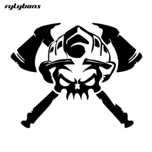 rylybons 1pcs car stickers and decals Firefighter Skull Funny Car-styling body car sticker anime 19*15cm For Benz BMW AUDI Ford