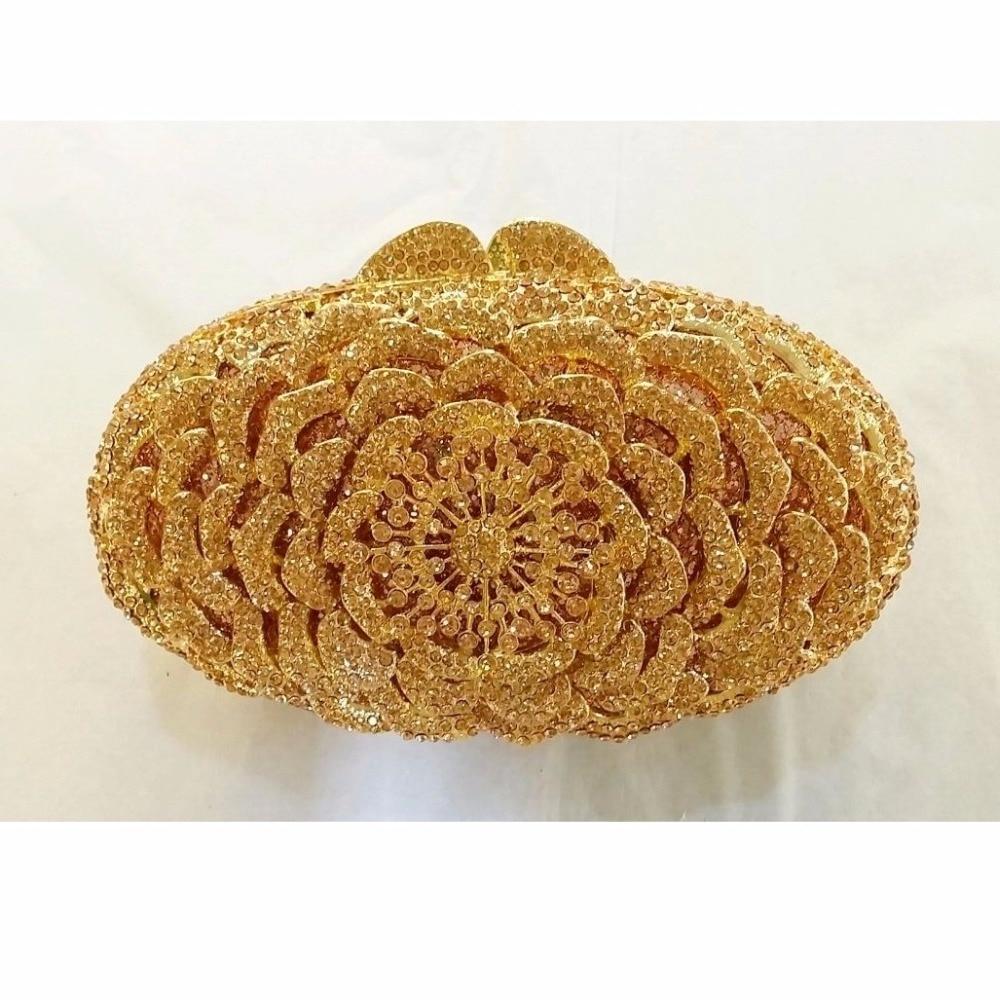 ФОТО 8247PH peach Crystal OVAL Floral flower Rose Wedding Bridal Party Night hollow Metal Evening purse clutch bag case box handbag