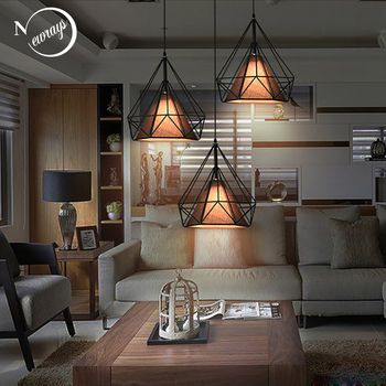 7 color Modern loft black/white diamond pendant lights E27 led lamps iron brief for bedroom kitchen bar cafe living room