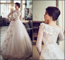 2015 Elegent Floor-Length Sweetheart Cap Sleeve Appliques Ball Gown Princess Wedding Dresses With Long Sleeves Vestido Casamento