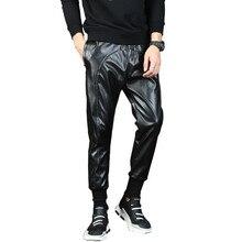 Мужские панк-Мото искусственной кожаные брюки, мужские падение шаровары с низкой слонкой Штаны уличных танцев DJ трико для мужчин шнурок для ночного клуба брюки 1005