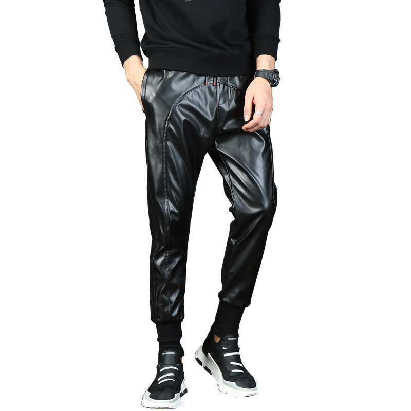 Mens Punk Moto Faux Leather Pants Male Drop Crotch Harem Pants Street Dance DJ Baggy Joggers Drawstring Night Club Trousers 1005