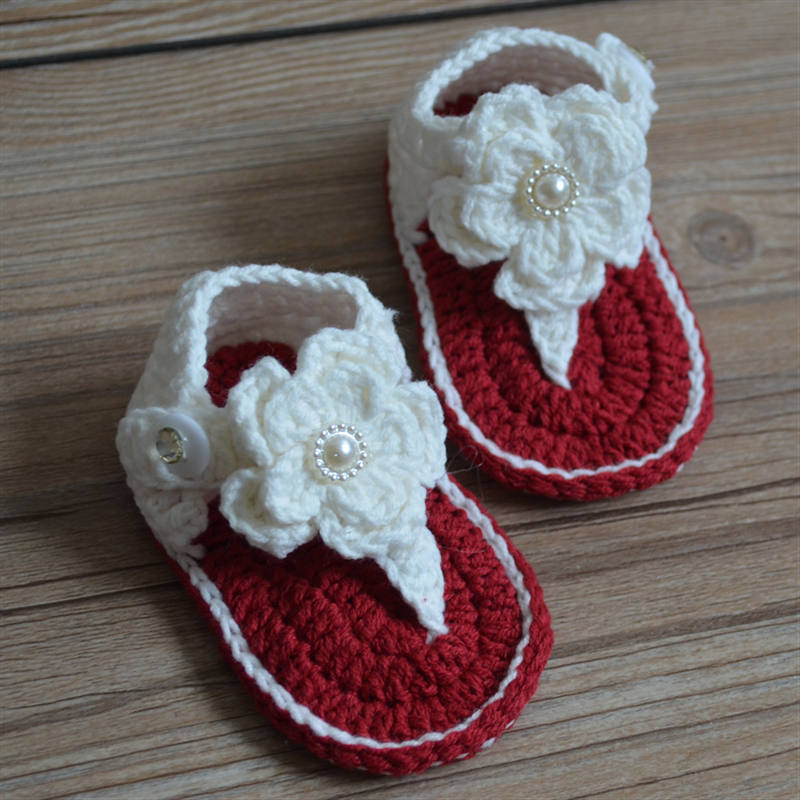 QYFLYXUEFlower Baby Sweater Shoes Knitted Baby Shoes Hand-knitted Baby Sandals Lace Soft Sole Toddler Shoes