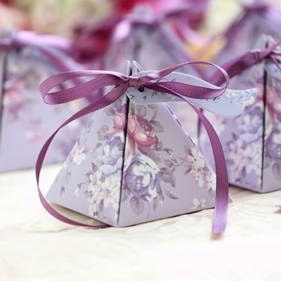 2017 new design Elegant favor boxes ,paper candy gift bags for wedding party guests,Tria ...