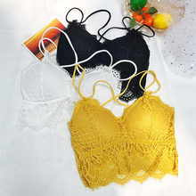 Deep V Lace Bralette Padded Bras For Women Fashion Wireless Bra 3 Colors Summer Tank Crop Top Girls Backless Lingerie Free Size(China)